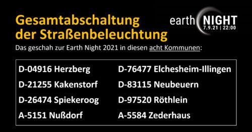 Gesamtabschaltung Strassenbeleuchtung Earth Night 2021